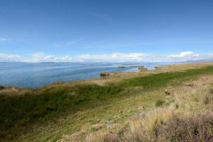Destinos en Bolivia.. Vista del Lago Titicaca desde la carretera