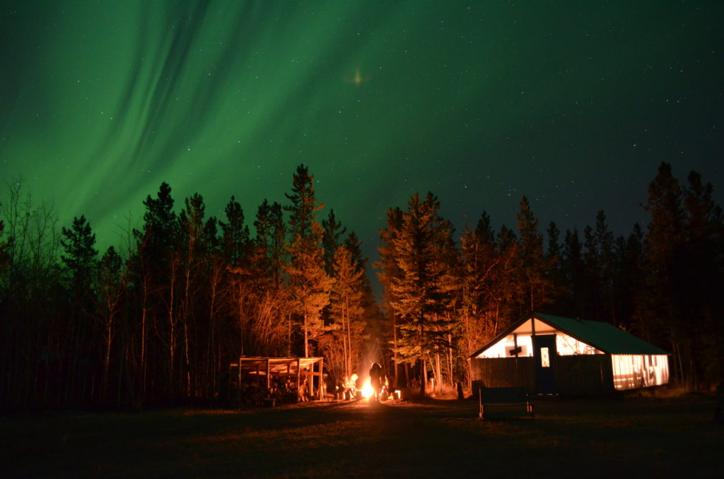 Cabaña donde Claudia y su familia dieron espera a las Auroras Boreales